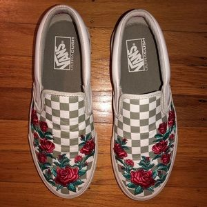 VANS Rose embroidered checkered shoes